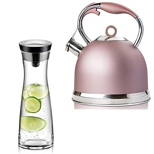 Sotya Tea Kettle Best 3 Quart induction Modern Stainless Steel Surgical Whistling Teapot - Pot For Stove Top(Rose-gold) and 40oz/1200ml Glass Drip-free Pitcher With Lid, Borosilicate Glass Carafe