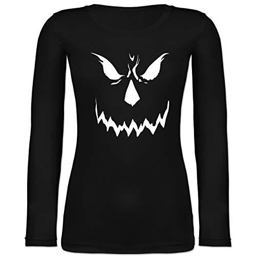 Shirtracer Halloween - Scary Smile Halloween Kostüm - M - Schwarz - Gesicht - BCTW071 - Langarmshirt Damen