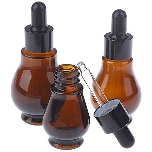 WZCXYX 3 Frascos Cuentagotas De Vidrio De 10/20/30 / Ml De Color ámbar Frasco De Pipeta De Perfume De Aceite Esencial Recipiente Vacío Rellenable