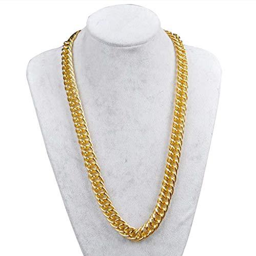Team99 Jewelry - Cadena de eslabones para hombre con relleno sólido, estilo punk, para mujer, cadena de oro
