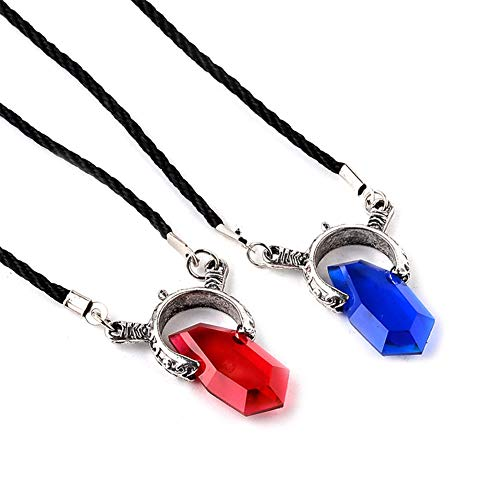 HLZG Devil May Cry Necklace, 2 Pack/set Game Dantes Stone Crystal Cosplay Costume Couple Gifts Pendant Necklace Blue and Red