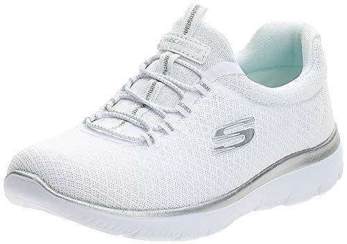 Skechers Damen 12980 Sneakers, White (White/Silver), 4 UK (37 EU)