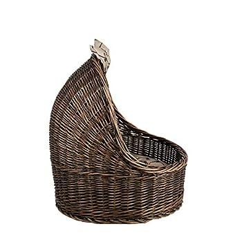 e-wicker24 Corbeille,Niche, Panier Ovale en Osier Brun-Gris avec Joli Coussin Beige imprimé Petits os Maron et Une os décoratif