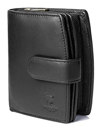 MATADOR Echt Leder Frauen Geldbörse RFID Schutz Geldtasche Viele Kartenfächer 3622 (Schwarz)
