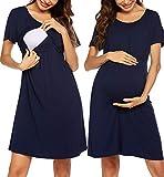 UNibelle Damen Nachthemd Schwangerschaft Kurzarm Stillnachthemd Geburtskleid Umstandsnachthemd Kurz Sommer Neligee Bügelfrei Navyblau XXL