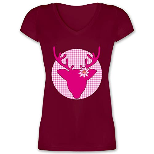 Oktoberfest & Wiesn Damen - Oktoberfest Hirsch mit Edelweiß - Fuchsia - L - Bordeauxrot - Trachten Shirts Damen pink - XO1525 - Damen T-Shirt mit V-Ausschnitt