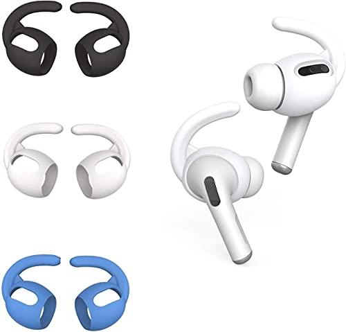 CANOPUS Almohadillas Auriculares Compatible con Apple AirPods/EarPods, 3 Pares (Blanco, Negro, Azul) Ganchos para la Oreja con Bolsa de Almacenamiento de Silicona, Ear Hooks, Ear Tips