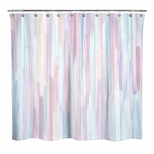 Sunlit Design Watercolor Painting with Macaron Pink and Blue Fabric Shower Curtain, Gouache Style Bathroom Decoration Curtains, Machine Washable