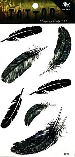 NipitShop 1 Sheet Removable Waterproof Temporary Tattoo Bird Feather Indian Arm 3D Hand Art Tatoo Stick Body Tattoo Temporary Waterproof Stickers