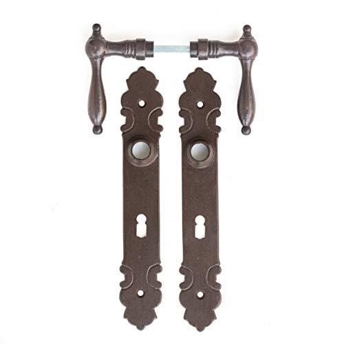 Antikas - manillas de hierro antiguo para puertas de cuarto - manillas con placas estilo antiguo