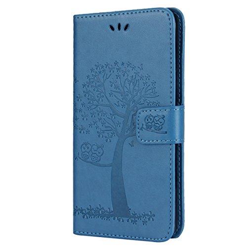 EUWLY Kompatibel mit Huawei Y5 II Hülle Handyhülle Luxus Baum Eule Bookstyle LederHülle Ledertasche Schutzhülle Klappbar Handy Tasche Leder Flip Hülle Cover Mit Magnetverschluß,Blau
