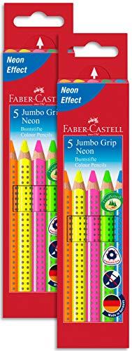 Faber-Castell 110994 - Buntstifte Jumbo Grip Neon, 2x 5er Etui