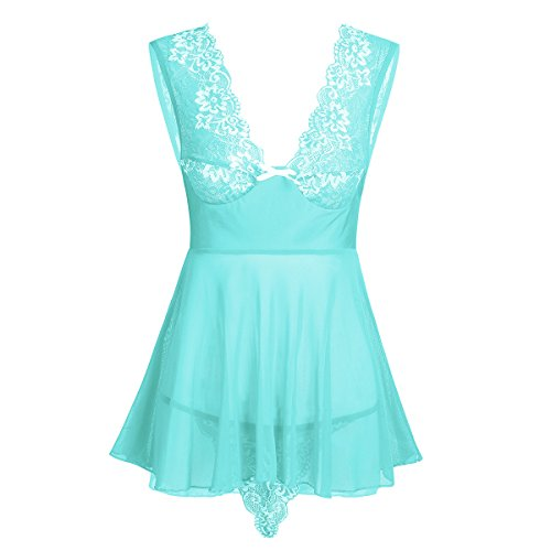iEFiEL Damen Dessous Kleid Negligee tief V-Ausschnitt Dessous Transparent Babydoll Reizwäsche Erotik Spitze Lingerie Rock mit G-String Blau 3XL