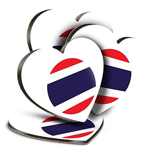 Destination Vinyl ltd Great Posavasos (juego de 4) corazón – Bandera de Tailandia para viajes, bebidas brillantes, protección de mesa para cualquier tipo de mesa #9096