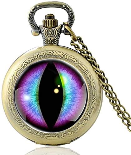 Devil S Eye Black Vintage Reloj de bolsillo de cuarzo Hombres Mujeres Colgante único Collar Horas Reloj Regalos