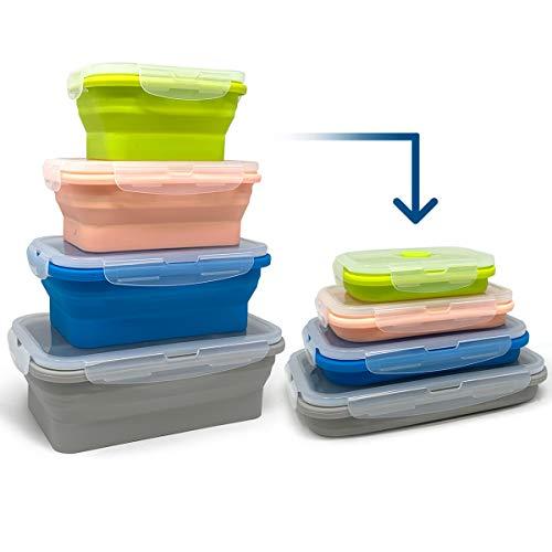 Juego de 4 tupper plegable para alimentos | Tupper silicona plegable verde/rosa/azul/gris...