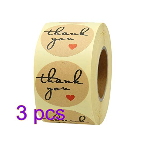 Amosfun Dank U Label Sticker DIY Kraft Papier Afdichting Etiketten voor Party Gift Voedselzak Sticker 3 Roll