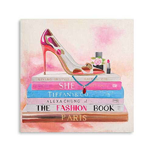B BLINGBLING High Heel Canvas Wall Art: Fashion Book Makeup Paintings for Wall Pink Fresh Watercolor for Girls Bedroom Ready to Hang (12'x12'x1 Panel)