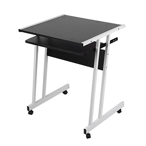 Computer Desk, Computer Table with keyboard extension, Moveable Work Table for Office and Home Study, 62 x 48 x 73 cm, PC and Laptop Work Station (Black)