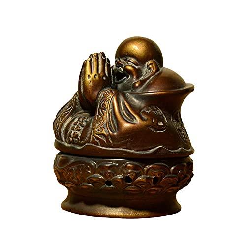 LBSST Maitreya Buddha Reclutamiento Dios de la riqueza Decoraciones Adornos Quemador de incienso de cobre de imitación Quemador de incienso Suministros de Buda Placa de meditación Quemador de