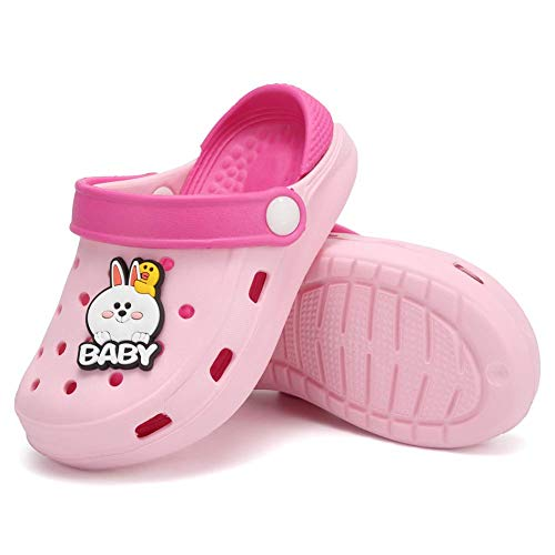 Toddler Clog Slippers Sandals|Slip On Garden Shoes for Boys and Girls|Water Shoes Sneakers Cartoon Slides for Children Beach Pool ShowerU820SDDX1-Pink-155