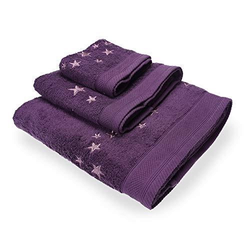 Montse Interiors Juego de Toallas Bordadas Estrellas 3 Piezas 550gr (Violeta Big Stars Nº14)