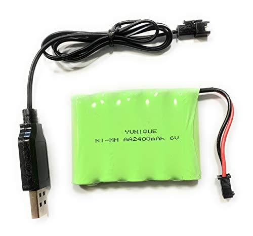 YUNIQUE ITALIA 1 Pezzo Batteria Ricaricabile 6V Ni-Mh 2400 mAh per Controllo Remoto Auto + Cavo Carica USB