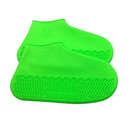 Cubrezapatillas de Silicona reciclable Reutilizable Impermeable Impermeable Hombre Zapatos Cubiertas Botas de Lluvia Antideslizante Lavable Unisex Resistente al Desgaste - Verde, S