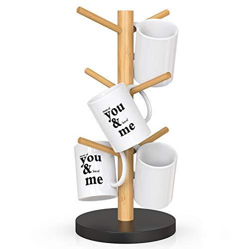 Coffee Mug Tree Bamboo Coffee Mug Rack Cup Holders for Counter with 6 Hooks