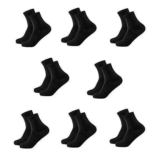Cotton Bamboo Blend Women Socks Quarter Length Socks Athletic Odor-free Set of 4 Pairs Size 5-8 (Black 8 Pairs)
