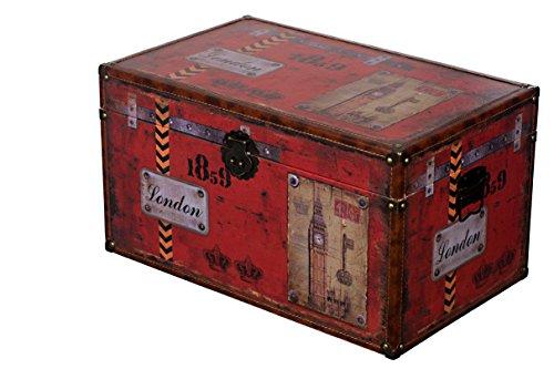 Baule KD 1513 Marittimo, Città di Londra, Parigi, Italia, in Legno Rivestito in Pelle in Look Vintage, Cassetta del Tesoro