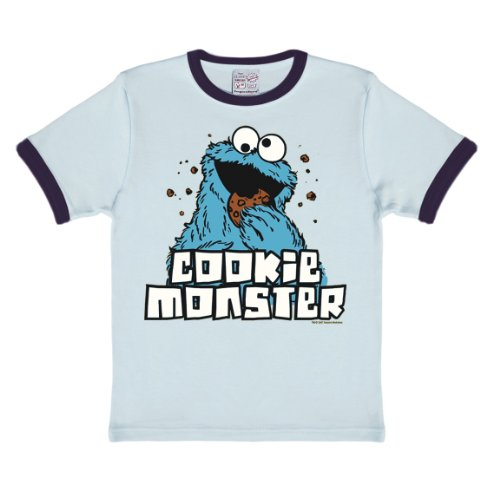 Logoshirt Sesamstrasse - Krümelmonster T-Shirt Kinder - hellblau - Lizenziertes Originaldesign, Größe 122/134, 7-9 Jahre