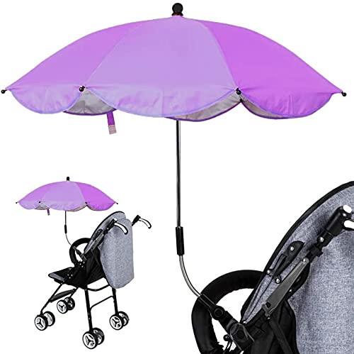 Ducomi BabySun - Paraguas parasol para cochecito y cochecito de bebé – Parasol universal y plegable con soporte fácil montaje – Longitud: 77 cm