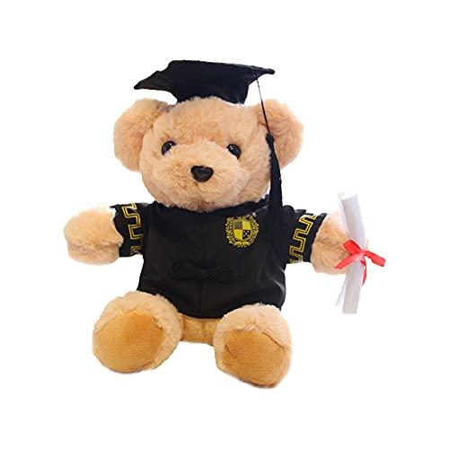 Oso De Graduación Con Gorra Y Vestido - Muñeca De Oso De Peluche Personalizado En Traje De Graduación Con El Sombrero De Doctorado, Regalo De La Graduación De La Felicitación Animal Para La Escue