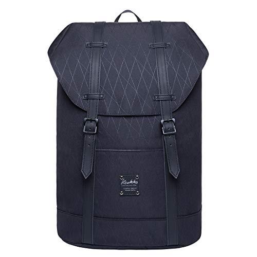 KAUKKO Unisex Rucksack Lässiger Schulrucksack für 12 Zoll Laptop 29 * 15 * 41 cm, 17.8 L(Schwarz JNL-EP6-15-03)