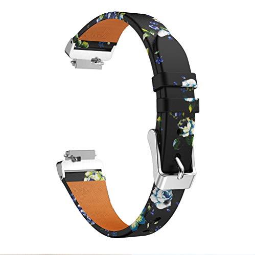 TenCloud Armband kompatibel mit Fitbit Ace 2 Armband, super weich, schmal, echtes Leder, Ersatz-Armband, bedruckt, Blumenmuster, für Inspire/Ace 2/Inspire HR Fitness Tracker (grün)