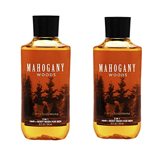 Bath & Body Works 2 in 1 Hair & Body Wash For Men Mahogany Woods (Pack of 2)
