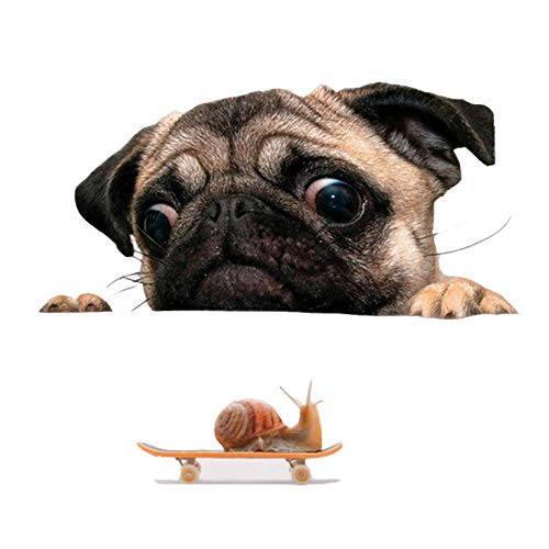 SODIAL Funny Cute Pet Pug Dog Snail 3D Car Window Decals Home Wall Sticker Decoration