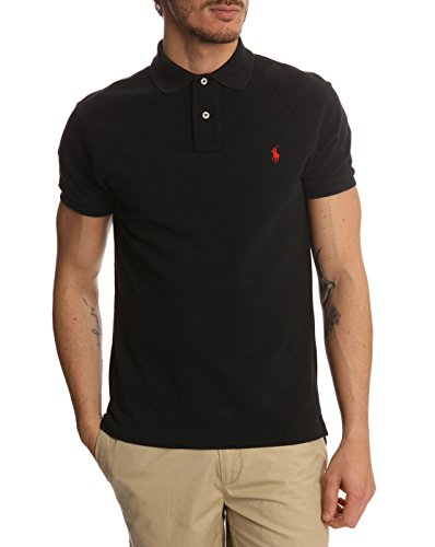 Ralph Lauren Men's Polo Shirt Slim Custom Fit Black Large