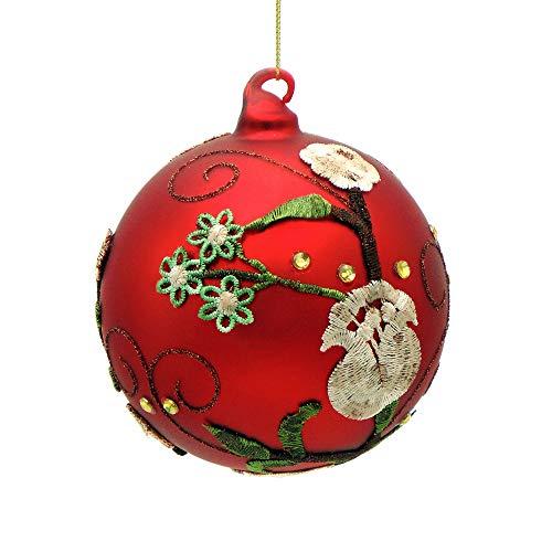 EDG Enzo De Gasperi Shabby Chic Boerderij Glazen Bal Kerst Bauble Ornamenten, Kerstbal Ornament - Met de hand toegepast Bloemenborduurwerk/Strass - Diameter 10 cm - Glas