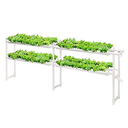 VIVOSUN Hydroponic Grow Kit, 2 Layers 72 Plant Sites 8 PVC Pipes Hydroponics Growing System with Water Pump, Pump Timer, Nest Basket and Sponge for Leafy Vegetables