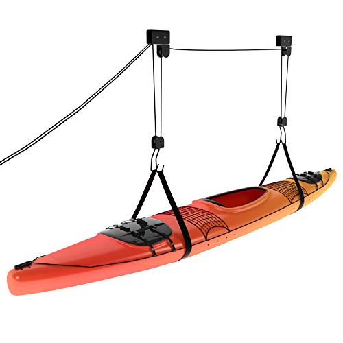 Powerfly Garage Ceiling Kayak Storage - Bike Hoist Hanger - Ladder, Kayak & Bike Pulley Storage System