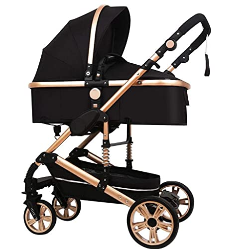 Maracos Cochecito 3 en 1, cochecito ajustable de alta vista, sistema de viaje con sombrilla y muelles antigolpes, cochecito de bebé (negro) (color: rosa) (color: rosa)
