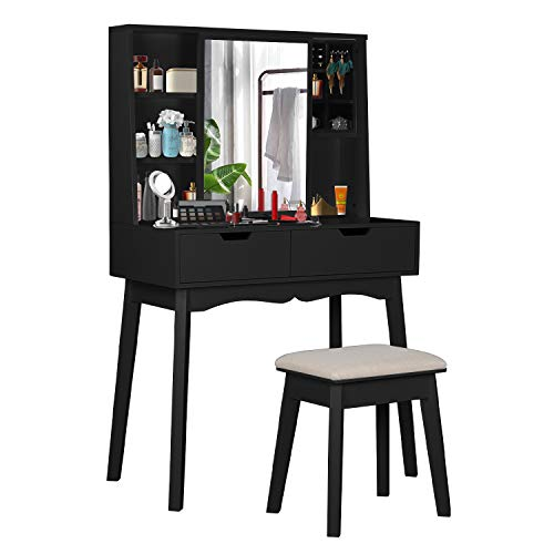 COZUHAUSE Black Vanity Table Set with Movable Mirror, Removable Jewelry Storage Box, Cushioning Stool, 2 Drawer Dressing Table (Black)