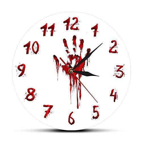 JKLMZYT Gruwelijke Bloedige Hand Horror Ontwerp Acryl Gedrukt Wandklok Halloween Decor Slasher Enge Klok Evil Dead Wall Art Watch-30X30cm