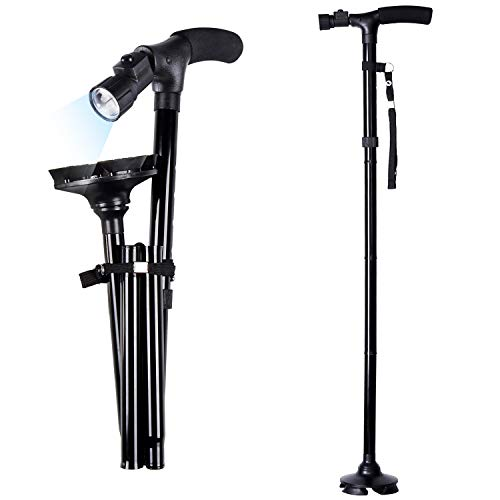 Folding Cane with Led Light, Adjustable Canes and Walking Sticks for Men and Women, Walking Cane Stick for Elderly with Cushion T Handle and Pivoting Quad Base For Hiking Mountain Climbing Backpacker