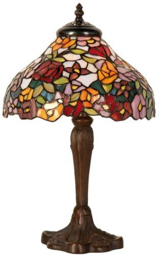 Lumilamp 5LL-1130 Tischleuchte Nachttischlampe Tiffany Stil Bunt Mehrfarbig Blumenmotiv Ø 26 * 40 cm / 1x E14 max 40w. schreibtischlampe Tiffany Stil dekoratives Buntglas Retro Antik Stil