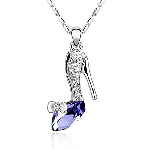 Moda Cenicienta colgante de tacón alto collar largo Multicolor sueño diamantes de imitación zapatos de cristal para niña collar joyería