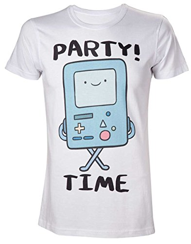 Adventure Time Herren Beemo Party Time T-Shirt, weiß, L