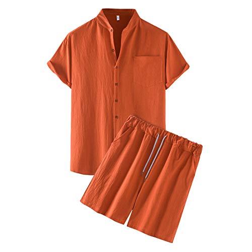 2 Stücke Kurzarm Herren Leinen 3/4 Arm Henley Shirt mit Shorts Freizeit Hemd Männer Button Down Slim Fit Sommer Tops Locker Weich Bequem T-Shirt Licht Atmungsaktiv Einfarbig Bekleidung Sets